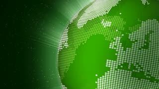 Rotating green globe seamless loop
