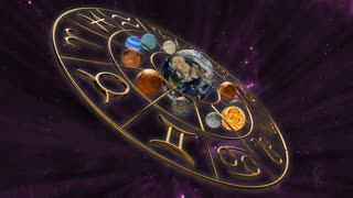 Rotating mystic astrology zodiac horoscope symbol with twelve planets in cosmic scene. 3D rendering. 4K