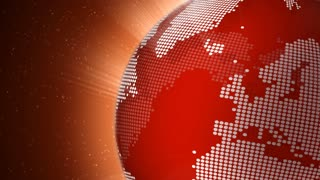 Rotating red globe seamless loop