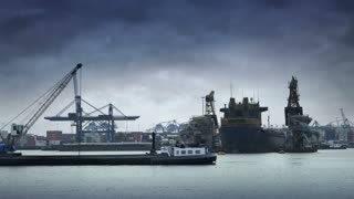 ROTTERDAM, THE NETHERLANDS - JANUARY 21, 2015: Port of Rotterdam 4K