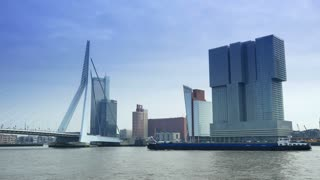 ROTTERDAM, THE NETHERLANDS - JANUARY 21, 2015: The Erasmusbrug and modern buildings of Rotterdam 4K