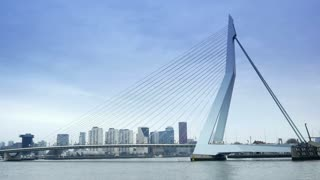 ROTTERDAM, THE NETHERLANDS - JANUARY 21, 2015: The Erasmusbrug of Rotterdam 4K