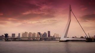 ROTTERDAM, THE NETHERLANDS - JANUARY 21, 2015: The Erasmusbrug of Rotterdam at sunset 4K