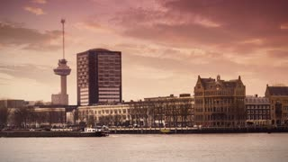 ROTTERDAM, THE NETHERLANDS - JANUARY 21, 2015: The Euromast of Rotterdam 4K