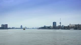 ROTTERDAM, THE NETHERLANDS - JANUARY 21, 2015: The river of Rotterdam from the Erasmusbrug 4K