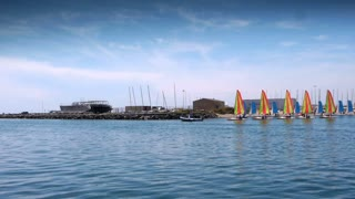 Sailing boats at a harbour at south France