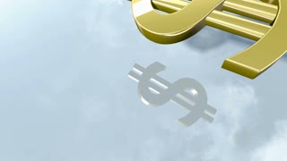 Shiny dollar money sign. 3d rendering 4K