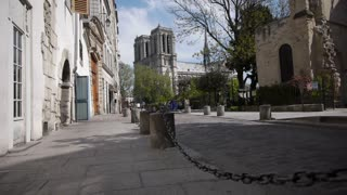 Small french street near Notre Dame in Paris, France