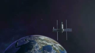 Space station flying into orbit with earth background 4K