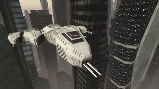 Spaceship flying through a future city