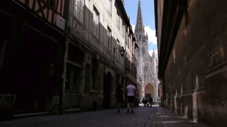 Street with church in Rouen, Normandy France