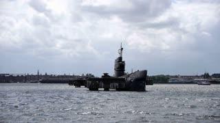 Submarine in harbour