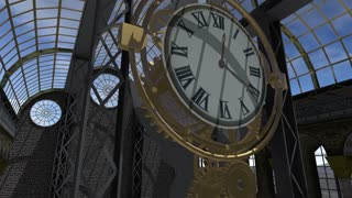Time machine animated in Steam Punk style 4K