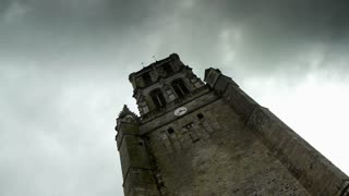 Tower of an old french church, time lapse