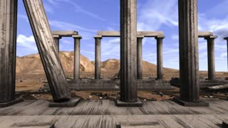 Tracking shot of Greek pillars