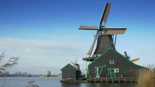 Turning windmill at the Zaanse Schans. Holland 4K