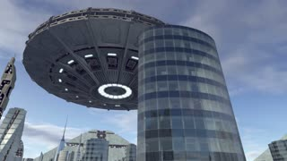 UFO flying above futuristic city 4K