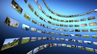 Video wall with different touristic clips, rotating. Loop-able 4K