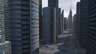 Virtual city with apache helicopter passing