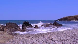 Waves at the Mediterranean coast, france
