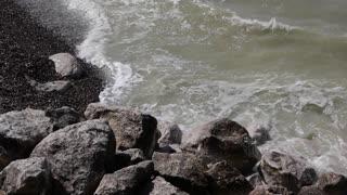Wild water at the coastline near Calais, France