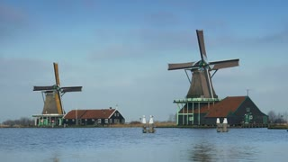 Wooden windmills in Holland 4K