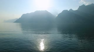Aerial footage of the fisherman boat at beautiful Lake Garda in Italy.