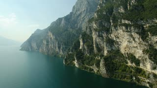 Aerial view of by lake Garda, nature, river in Italy