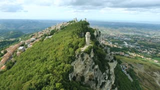Aerial view of Republic of San Marino, Guaita Tower, Italy, Europe