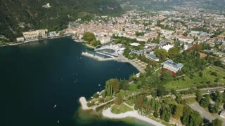 Aerial view of the Italian lakeside town Riva Lake Garda Italy