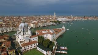 Aerial view of Venice panoramic landmark. Drone shot