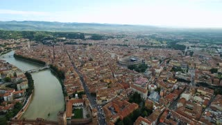 Aerial view of Verona Arena, Italy