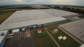 Agriculture, ecologically pure vegetables in greenhouses. Aerial view