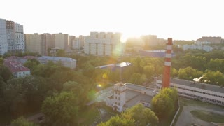 Beautiful sunset in new buildings of Moscow. The development and construction in Russia.Aerial view