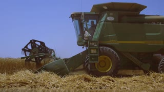 Healthy food and diet. Harvester removes wheat , barley.