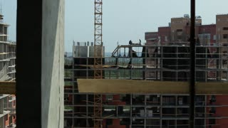 Industry and development. Construction work on the site. Long ,dolly shot