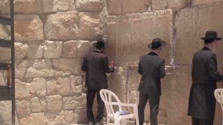 JERUSALEM, ISRAEL - 12 JUN 2016: pray at the Wailing Wall Jewish shrine in southern part of old city Jerusalem