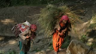 MANALI, INDIA - 24 SEPT 2016: Indian country womans carry a heavy load to the village