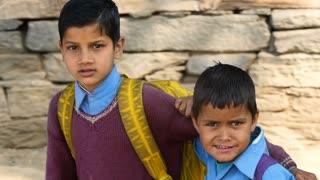 MANALI, INDIA - 24 SEPT 2016: Indian school children in the village