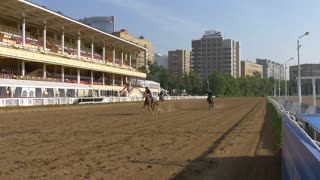 MOSCOW - CIRCA JUN 2016 running Horses Slow Motion, central Moscow hippodrome