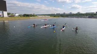 Moscow, Russia - 11 July 2016: Kayakers are preparing for a competition Moscow rowing channel