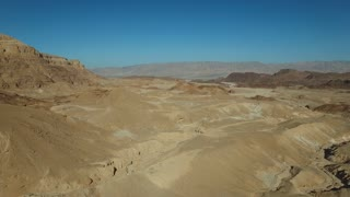 National Park - Timna. Aerial View of the desert of Timna. Panoramic shot