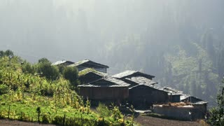 Roofs of the old village in the Himalayas
