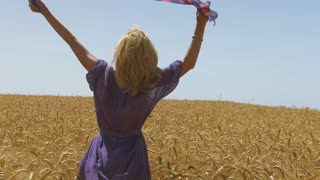 Slow Motion Vintage Dress Female in Wheat Field
