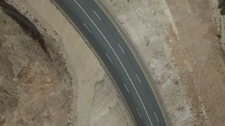 Speedway in the desert.Aerial shot of highway in the desert in the Middle East