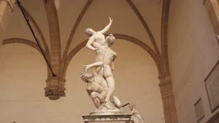 "Statue ""The Rape of the Sabine Women"" by Giambologna in Florence, Italy"