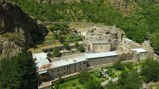 The aerial view of the ancient Armenian Geghard temple complex