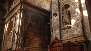 The iterior, frescoes and statues inside the Church - Degli Scalzi- in Venice, Italy