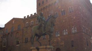 The statue of Cosimo I de Medici on Piazza della Signoria in Florence, Italy