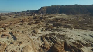 The terrain is mountainous terrain in desert Park of Timna.Aerial View of the desert of Timna. Panoramic shot
